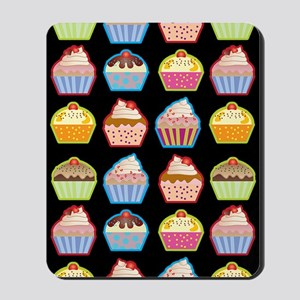 Cute Cupcakes On Black Background Mousepad