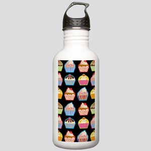 Cute Cupcakes On Black Stainless Water Bottle 1.0L