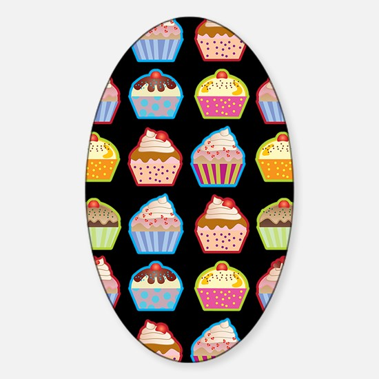 Cute Cupcakes On Black Background Sticker (Oval)