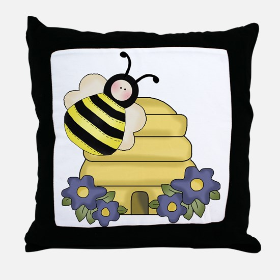 cute beehive and bumble bee Throw Pillow