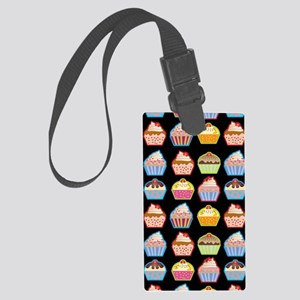 Cute Cupcakes On Black Backgroun Large Luggage Tag
