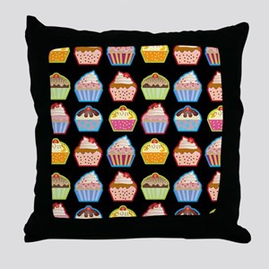 Cute Cupcakes On Black Background Throw Pillow