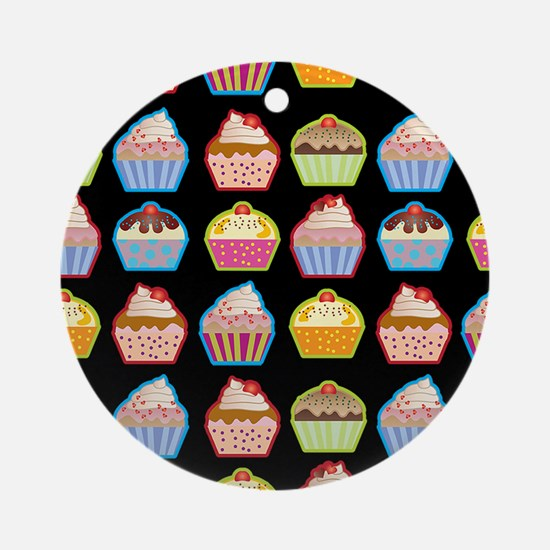 Cute Cupcakes On Black Background Round Ornament