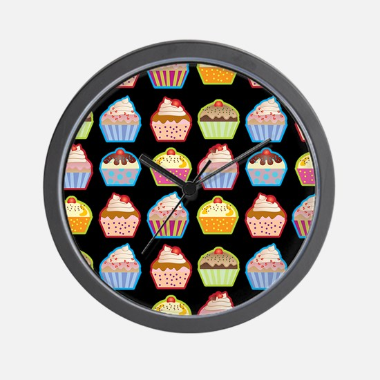 Cute Cupcakes On Black Background Wall Clock
