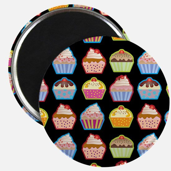 Cute Cupcakes On Black Background Magnet