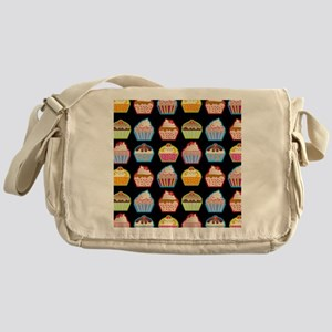 Cute Cupcakes On Black Background Messenger Bag