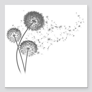 "Dandelion Wishes Square Car Magnet 3"" x 3"""