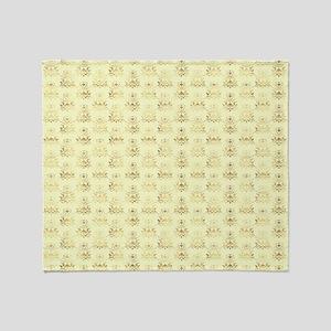 Elegant Gold and Ivory Damask Patter Throw Blanket