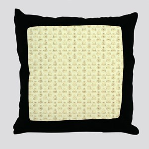 Elegant Gold and Ivory Damask Pattern Throw Pillow