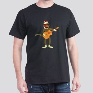 Sock Monkey Acoustic Guitar Player Dark T-Shirt