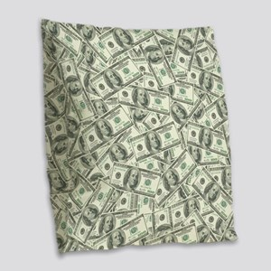 100 Dollar Bill Pattern Burlap Throw Pillow