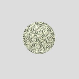 100 Dollar Bill Pattern Mini Button