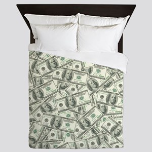 100 Dollar Bill Pattern Queen Duvet