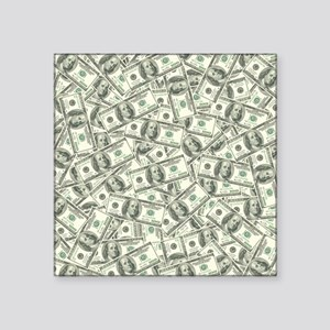 "100 Dollar Bill Pattern Square Sticker 3"" x 3"""