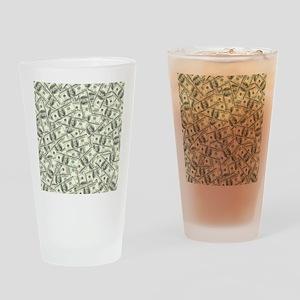 100 Dollar Bill Pattern Drinking Glass