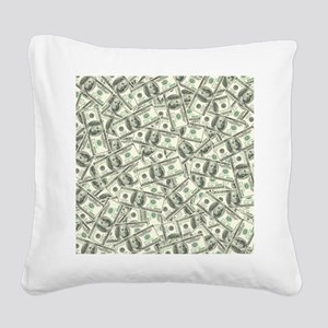100 Dollar Bill Pattern Square Canvas Pillow