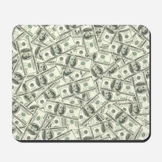 100 Dollar Bill Pattern Mousepad