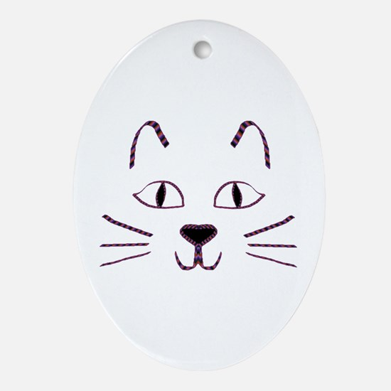 Purple Kitty Oval Ornament