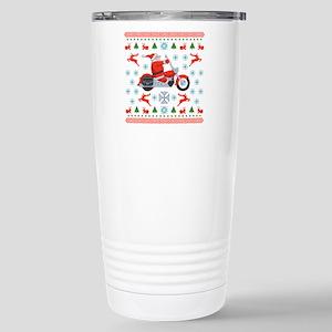 Santa Biker Sweater Tee Stainless Steel Travel Mug