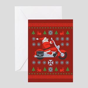 Santa Biker Sweater Tee Greeting Card