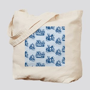 Mad Tea Party Text Toile Blue Tote Bag