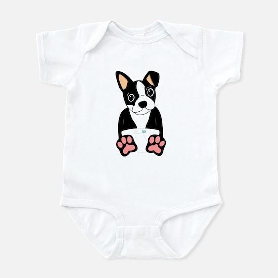 Boston Terrier Diaper Puppy Infant Bodysuit