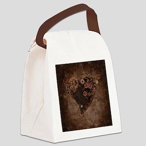 Steampunk Heart Canvas Lunch Bag