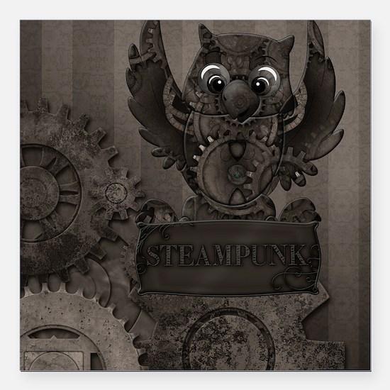 "Steampunk Owl Square Car Magnet 3"" x 3"""