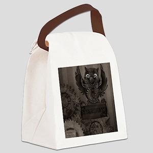 Steampunk Owl Canvas Lunch Bag