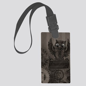 Steampunk Owl Large Luggage Tag