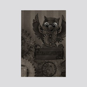 Steampunk Owl Rectangle Magnet