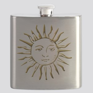 Gold Sun on White Flask