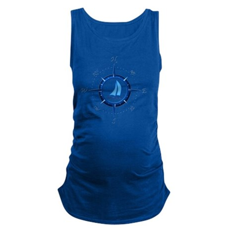 Sailboat And Blue Compass Maternity Tank Top