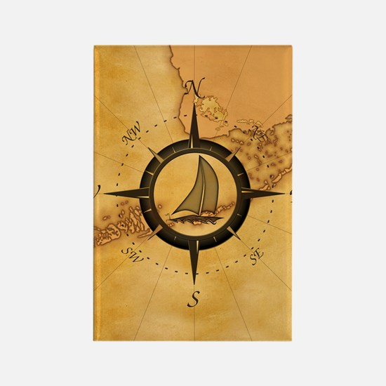 Key West Compass Rose Rectangle Magnet