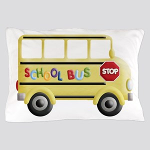 cute yellow school bus Pillow Case