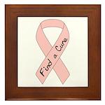 Breast Cancer Find a Cure Pink Ribbon Framed Tile
