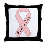 Breast Cancer Find a Cure Pink Ribbon  Throw Pillo