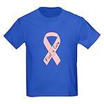 Breast Cancer Find a Cure Pink Ribbon Kids Dark T