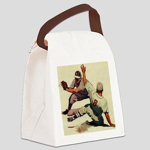 Vintage Sports Baseball Canvas Lunch Bag