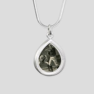 Vintage Sports Baseball  Silver Teardrop Necklace
