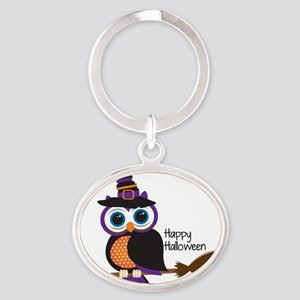 Witch Owl Oval Keychain