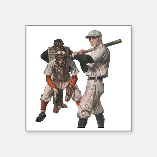 "Vintage Sports Baseball Square Sticker 3"" x 3"""