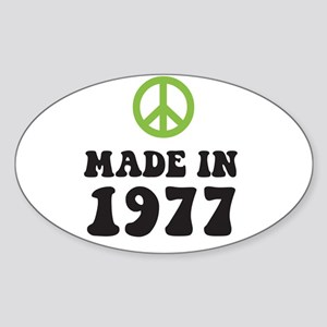 Made In 1977 Peace Symbol Oval Sticker