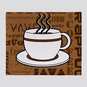 Coffee Words Jumble Print - Brown Throw Blanket