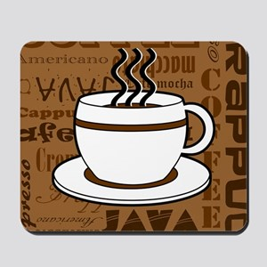 Coffee Words Jumble Print - Brown Mousepad