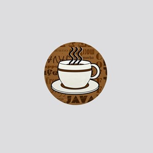 Coffee Words Jumble Print - Brown Mini Button