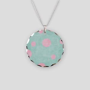 big pink polka dots on aqua  Necklace Circle Charm