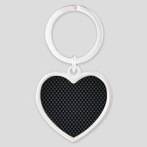 Carbon Mesh Pattern Heart Keychain