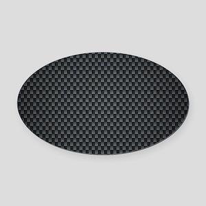 Carbon Mesh Pattern Oval Car Magnet