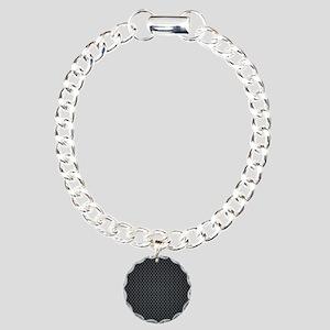 Carbon Mesh Pattern Charm Bracelet, One Charm